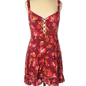 Intimately Free People Orange/Red Floral Dress NWT